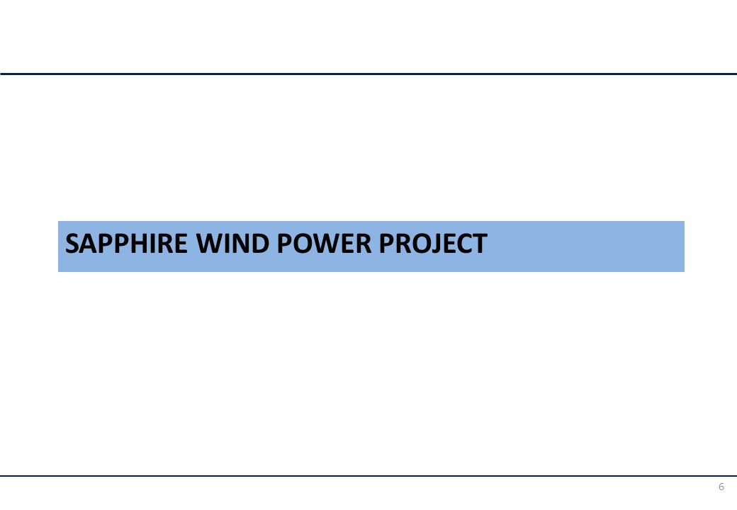 SAPPHIRE WIND POWER PROJECT 6