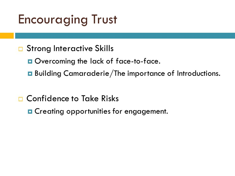 Encouraging Trust  Strong Interactive Skills  Overcoming the lack of face-to-face.  Building Camaraderie/The importance of Introductions.  Confide
