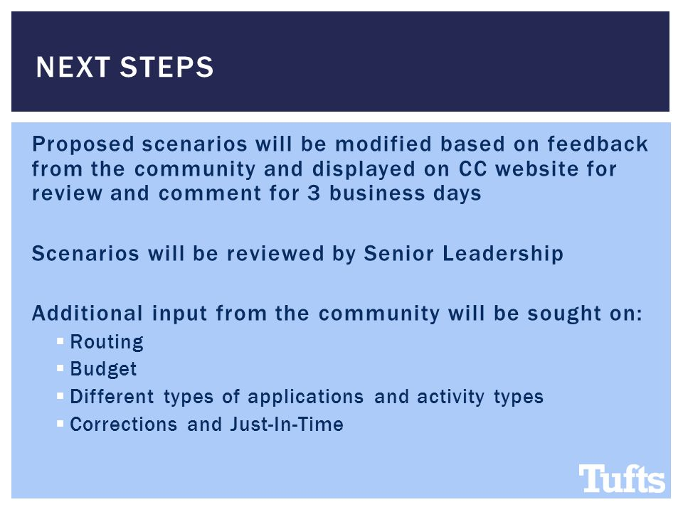 Proposed scenarios will be modified based on feedback from the community and displayed on CC website for review and comment for 3 business days Scenarios will be reviewed by Senior Leadership Additional input from the community will be sought on:  Routing  Budget  Different types of applications and activity types  Corrections and Just-In-Time NEXT STEPS