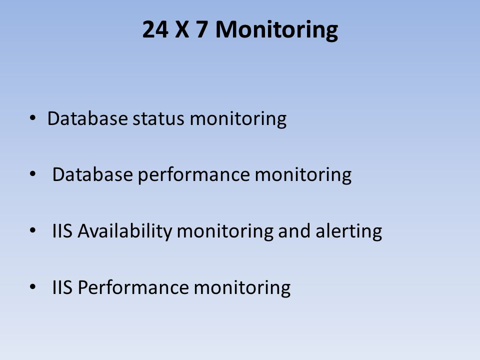 24 X 7 Monitoring Database status monitoring Database performance monitoring IIS Availability monitoring and alerting IIS Performance monitoring