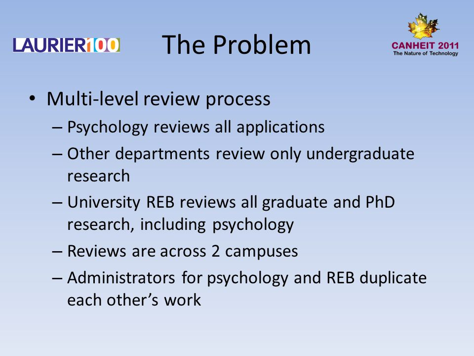 The Problem Multi-level review process – Psychology reviews all applications – Other departments review only undergraduate research – University REB reviews all graduate and PhD research, including psychology – Reviews are across 2 campuses – Administrators for psychology and REB duplicate each other's work