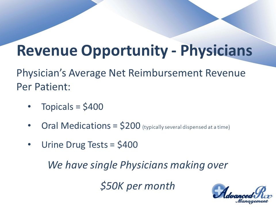Revenue Opportunity - Physicians Physician's Average Net Reimbursement Revenue Per Patient: Topicals = $400 Oral Medications = $200 (typically several dispensed at a time) Urine Drug Tests = $400 We have single Physicians making over $50K per month
