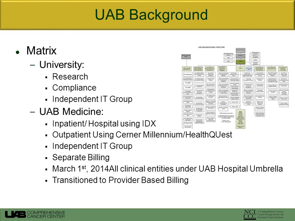 Matrix – University:  Research  Compliance  Independent IT Group – UAB Medicine:  Inpatient/ Hospital using IDX  Outpatient Using Cerner Millennium/HealthQUest  Independent IT Group  Separate Billing  March 1 st, 2014All clinical entities under UAB Hospital Umbrella  Transitioned to Provider Based Billing UAB Background