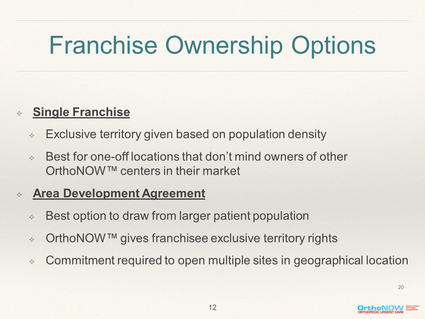Franchise Ownership Options ❖ Single Franchise ❖ Exclusive territory given based on population density ❖ Best for one-off locations that don't mind owners of other OrthoNOW™ centers in their market ❖ Area Development Agreement ❖ Best option to draw from larger patient population ❖ OrthoNOW™ gives franchisee exclusive territory rights ❖ Commitment required to open multiple sites in geographical location 12 20