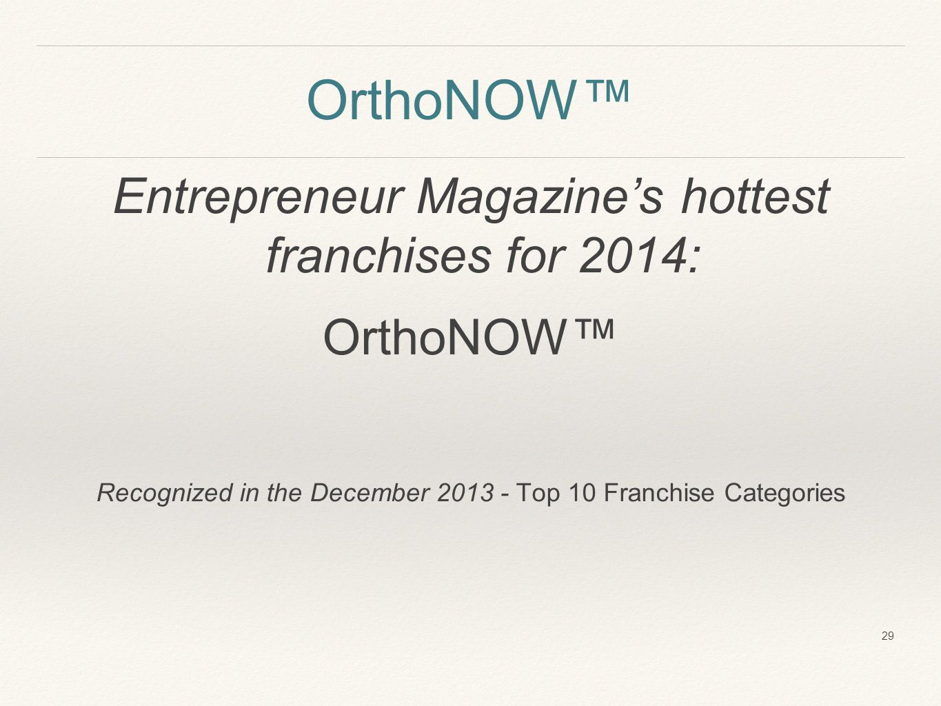 OrthoNOW™ Entrepreneur Magazine's hottest franchises for 2014: OrthoNOW™ Recognized in the December 2013 - Top 10 Franchise Categories 29