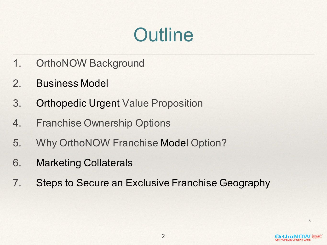 Outline 1.OrthoNOW Background 2.Business Model 3.Orthopedic Urgent Value Proposition 4.Franchise Ownership Options 5.Why OrthoNOW Franchise Model Opti