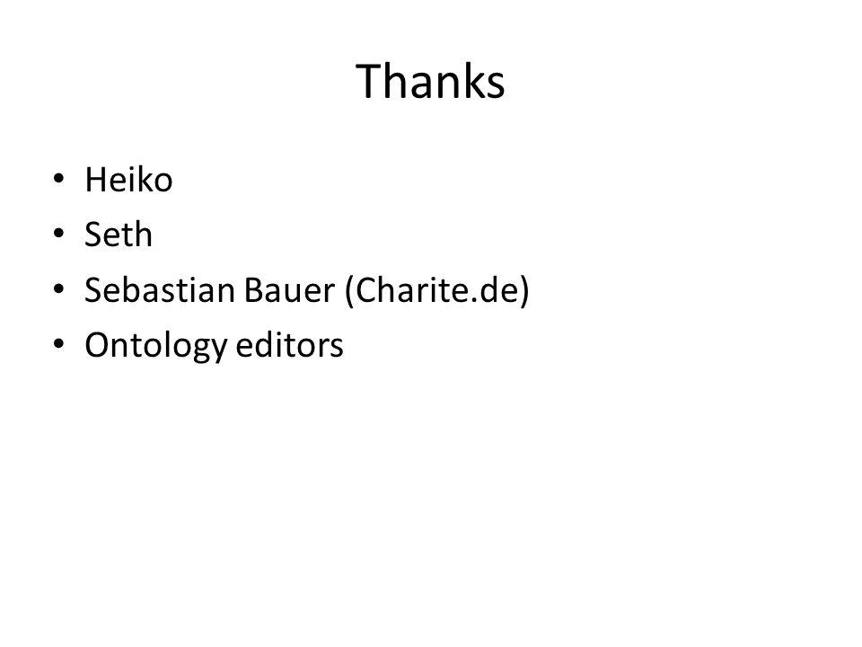 Thanks Heiko Seth Sebastian Bauer (Charite.de) Ontology editors