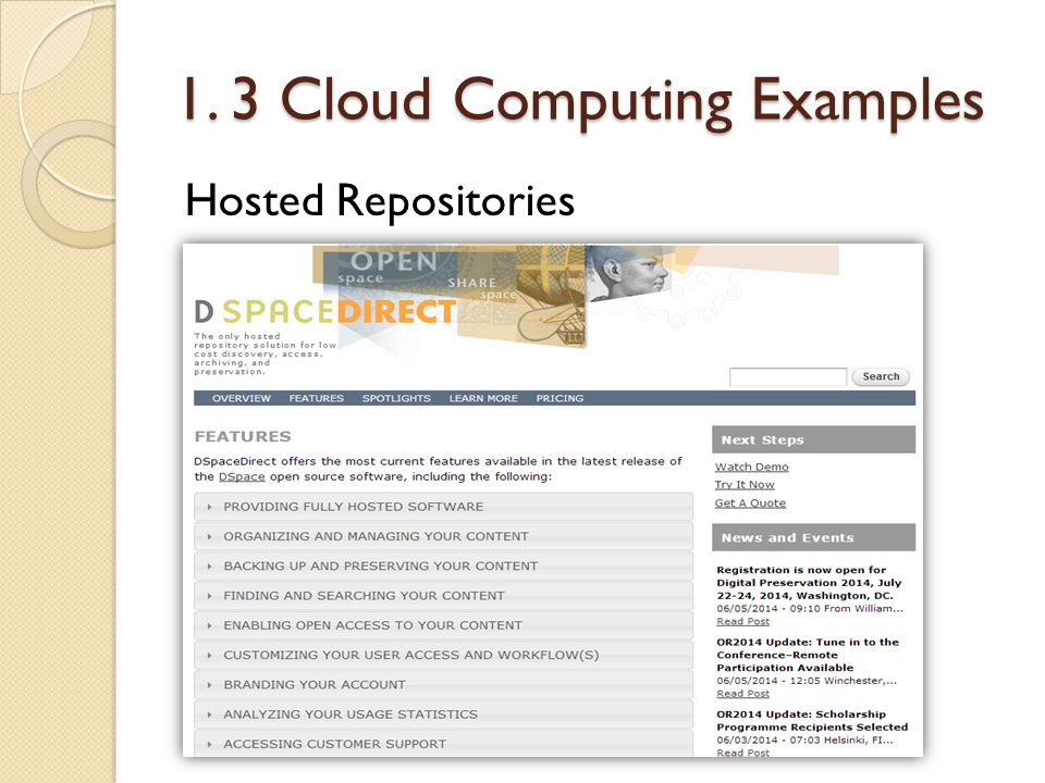1. 3 Cloud Computing Examples Hosted Repositories