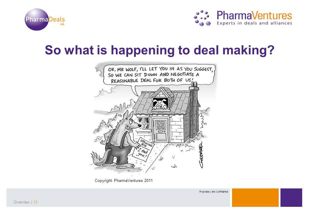 Presentation Title | 13Overview | 13 Proprietary and Confidential So what is happening to deal making? Copyright: PharmaVentures 2011