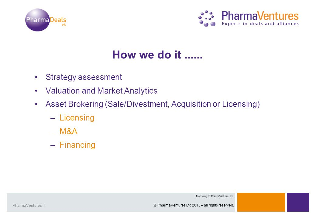 Presentation Title | 3Overview | 3 Proprietary and Confidential Presentation Title |PharmaVentures | Proprietary to PharmaVentures Ltd.