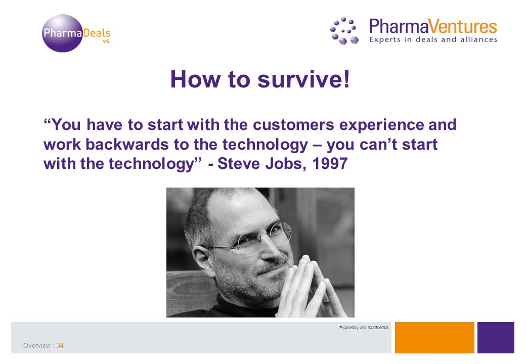 Presentation Title | 34Overview | 34 Proprietary and Confidential You have to start with the customers experience and work backwards to the technology – you can't start with the technology - Steve Jobs, 1997 How to survive!