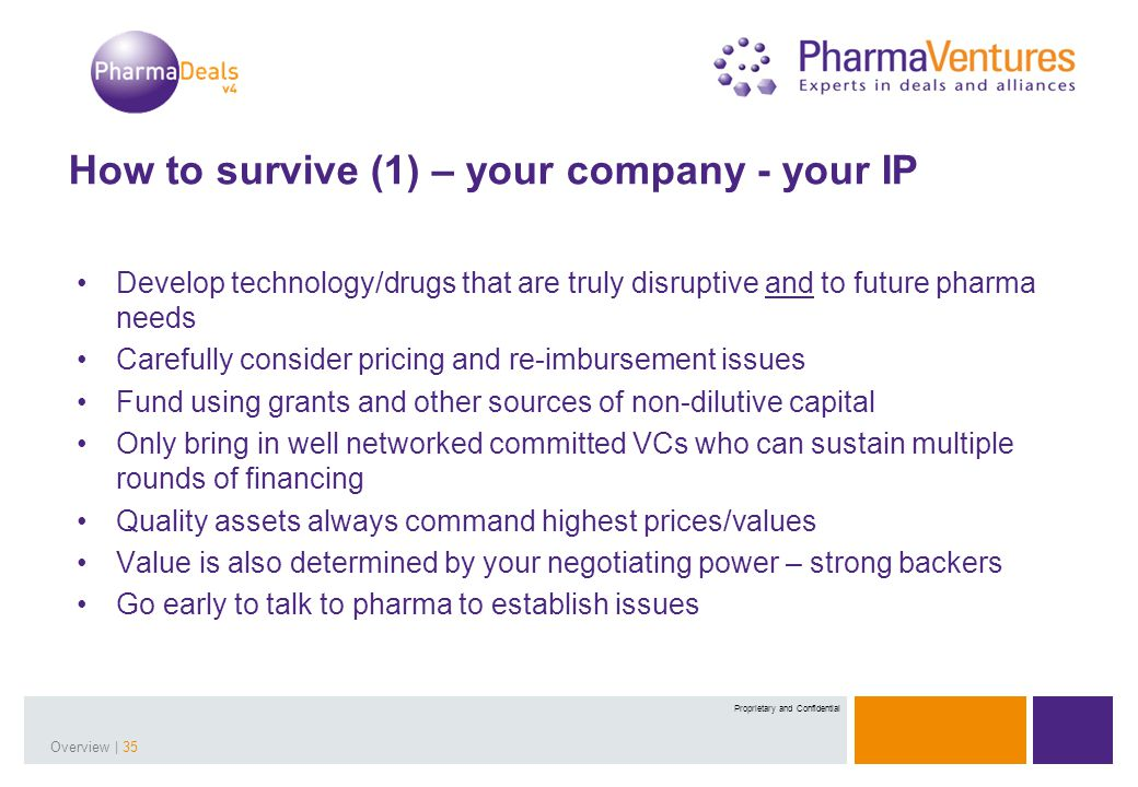 Presentation Title | 35Overview | 35 Proprietary and Confidential How to survive (1) – your company - your IP Develop technology/drugs that are truly disruptive and to future pharma needs Carefully consider pricing and re-imbursement issues Fund using grants and other sources of non-dilutive capital Only bring in well networked committed VCs who can sustain multiple rounds of financing Quality assets always command highest prices/values Value is also determined by your negotiating power – strong backers Go early to talk to pharma to establish issues