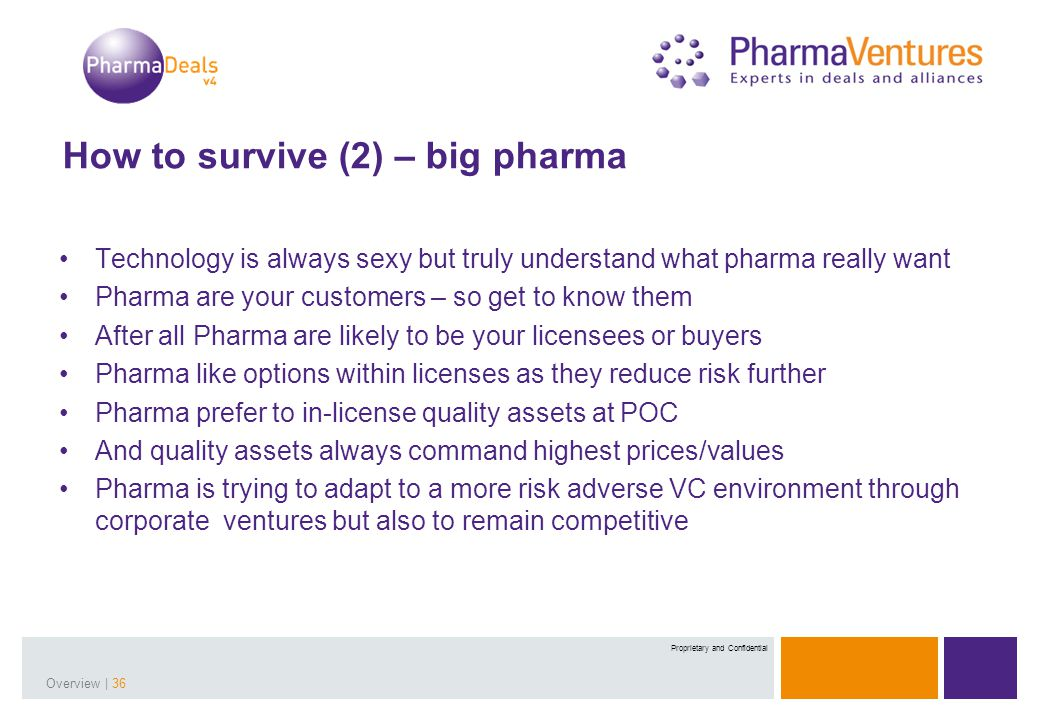 Presentation Title | 36Overview | 36 Proprietary and Confidential How to survive (2) – big pharma Technology is always sexy but truly understand what