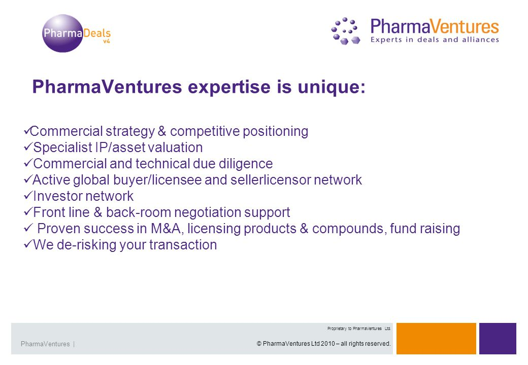 Presentation Title | 5Overview | 5 Proprietary and Confidential Presentation Title |PharmaVentures | Proprietary to PharmaVentures Ltd.
