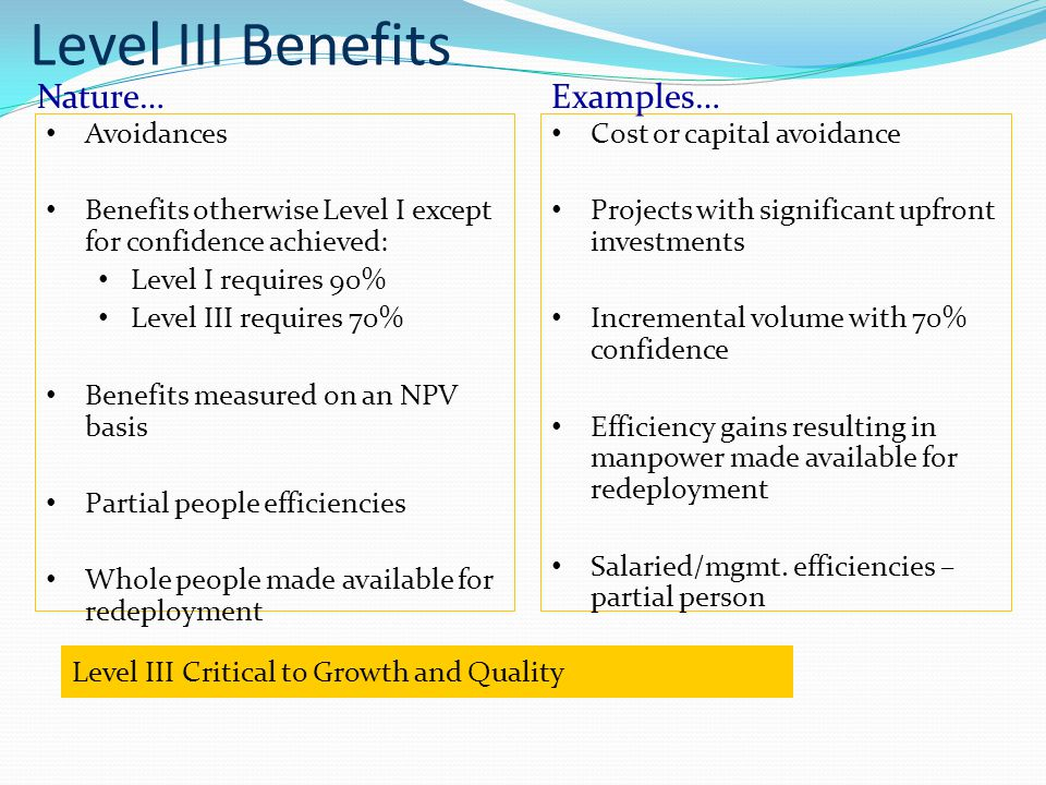 Avoidances Benefits otherwise Level I except for confidence achieved: Level I requires 90% Level III requires 70% Benefits measured on an NPV basis Partial people efficiencies Whole people made available for redeployment Cost or capital avoidance Projects with significant upfront investments Incremental volume with 70% confidence Efficiency gains resulting in manpower made available for redeployment Salaried/mgmt.