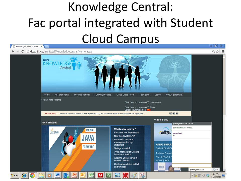 Knowledge Central: Fac portal integrated with Student Cloud Campus 24