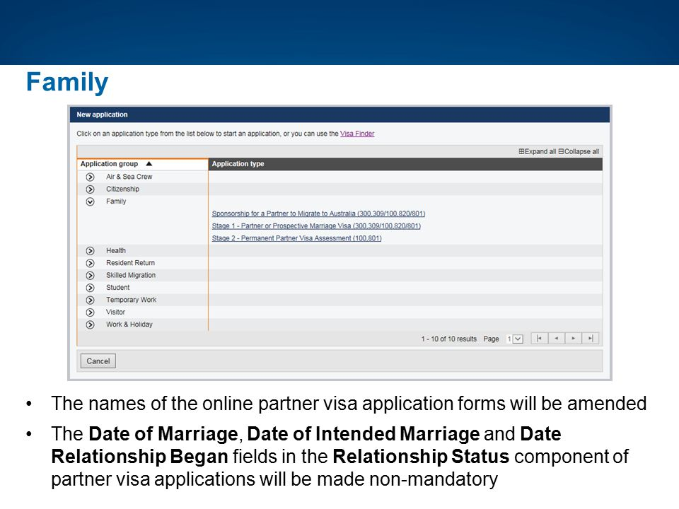 The names of the online partner visa application forms will be amended The Date of Marriage, Date of Intended Marriage and Date Relationship Began fie
