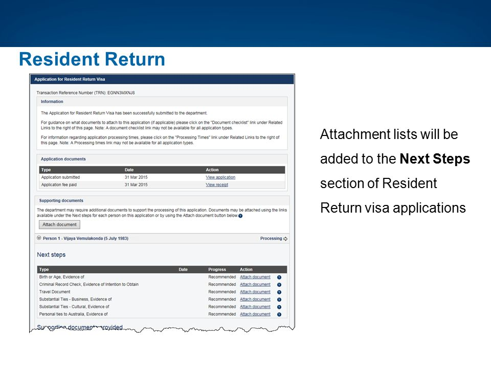 Attachment lists will be added to the Next Steps section of Resident Return visa applications