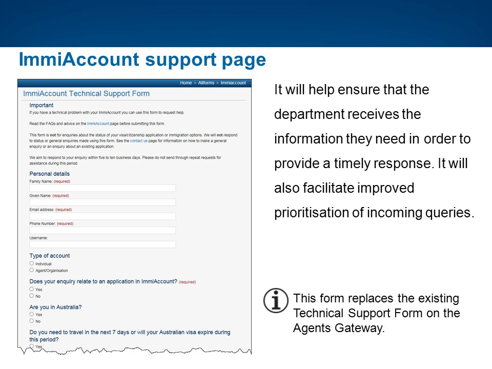 ImmiAccount support page It will help ensure that the department receives the information they need in order to provide a timely response. It will als