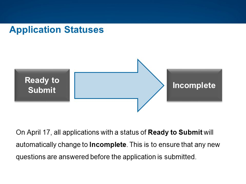 Incomplete Application Statuses Ready to Submit On April 17, all applications with a status of Ready to Submit will automatically change to Incomplete