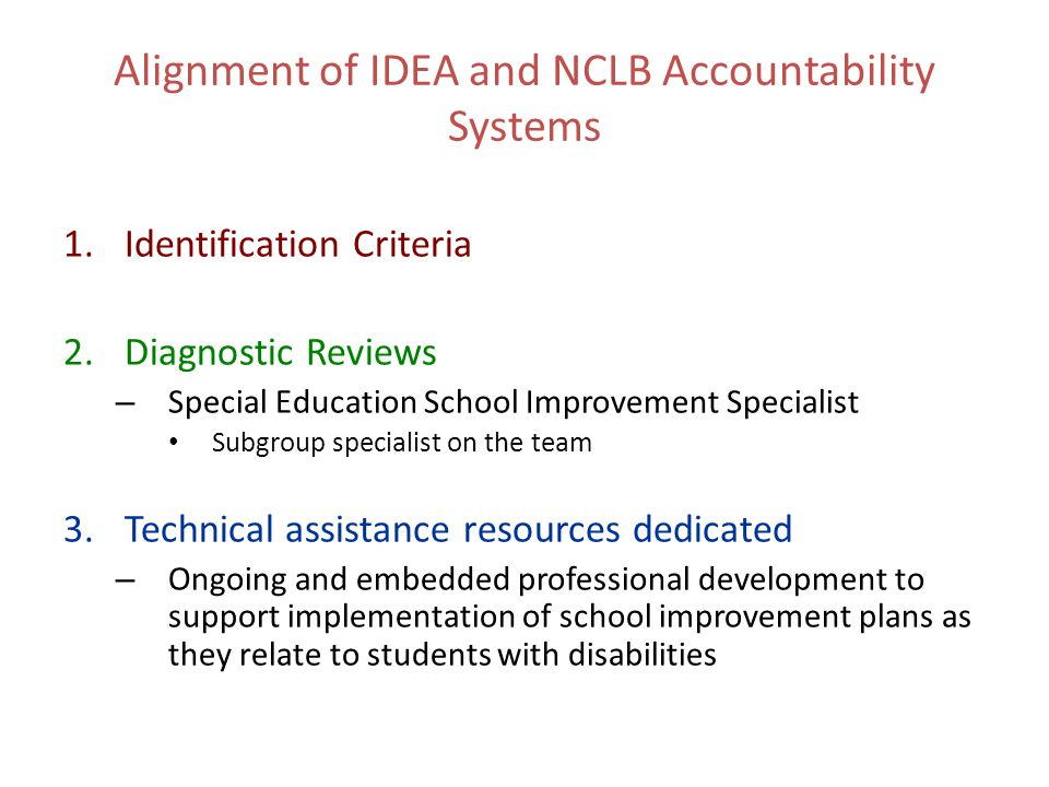 Alignment of IDEA and NCLB Accountability Systems 1.Identification Criteria 2.Diagnostic Reviews – Special Education School Improvement Specialist Sub