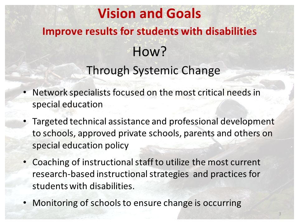 Roles and Responsibilities: SESIS Work directly with school districts identified through the regional planning process to bring and sustain high quality, research-based practices in the areas of literacy, behavioral supports and special education instruction to improve outcomes for students with disabilities.