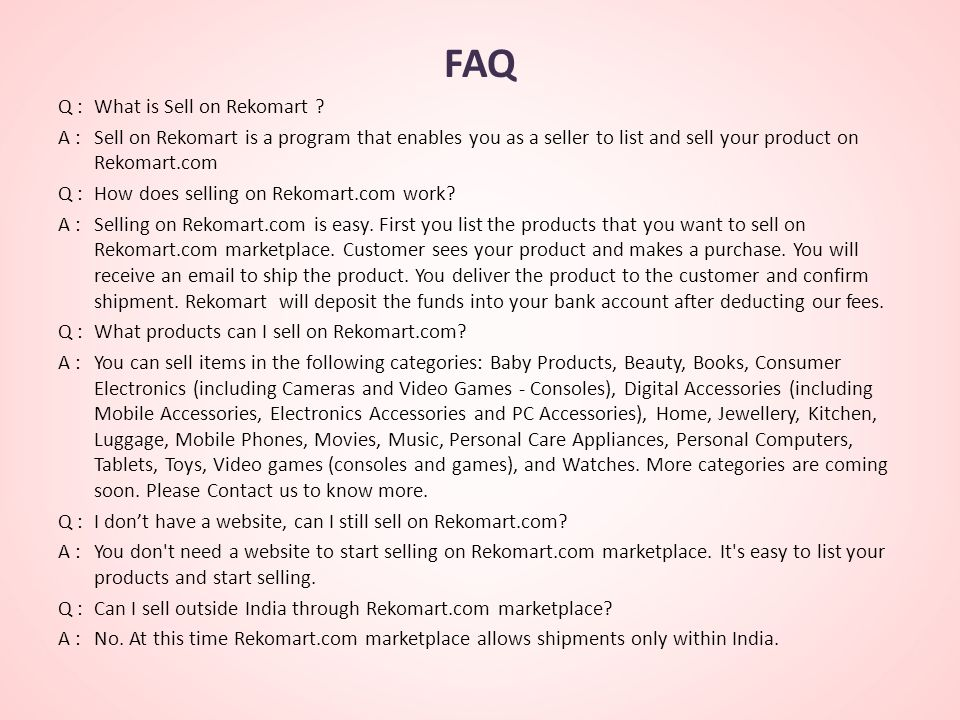 FAQ Q :What is Sell on Rekomart .
