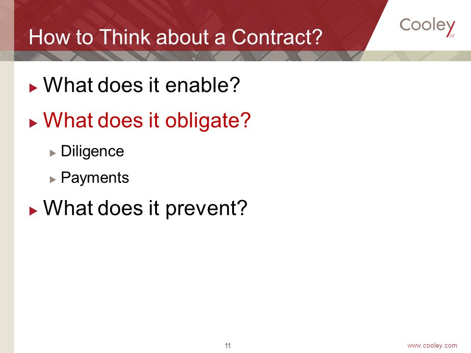www.cooley.com How to Think about a Contract.  What does it enable.