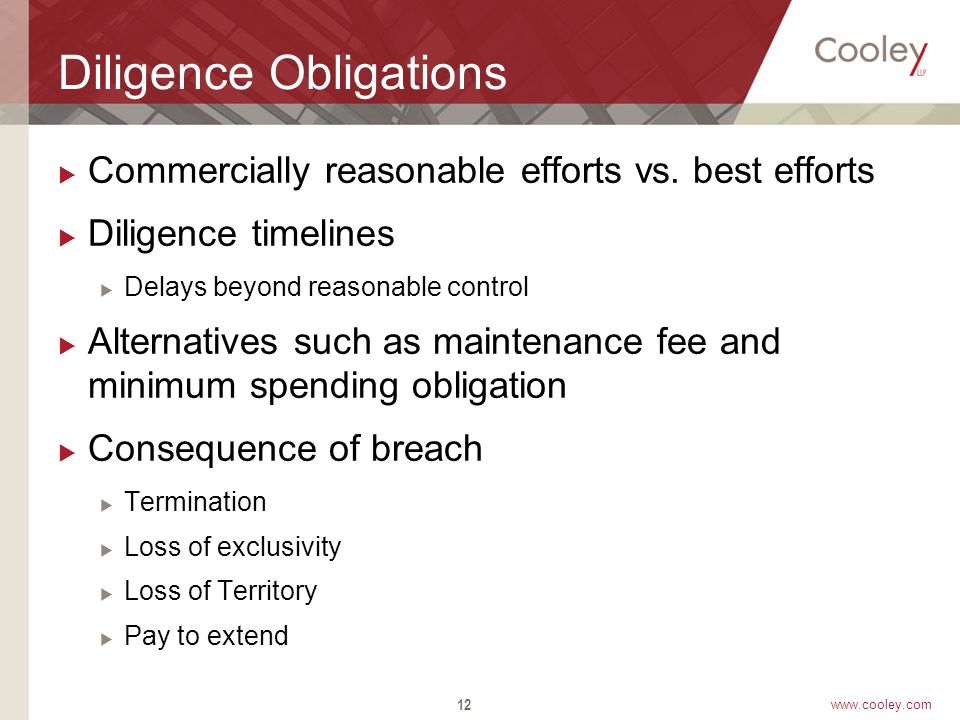 www.cooley.com Diligence Obligations  Commercially reasonable efforts vs.