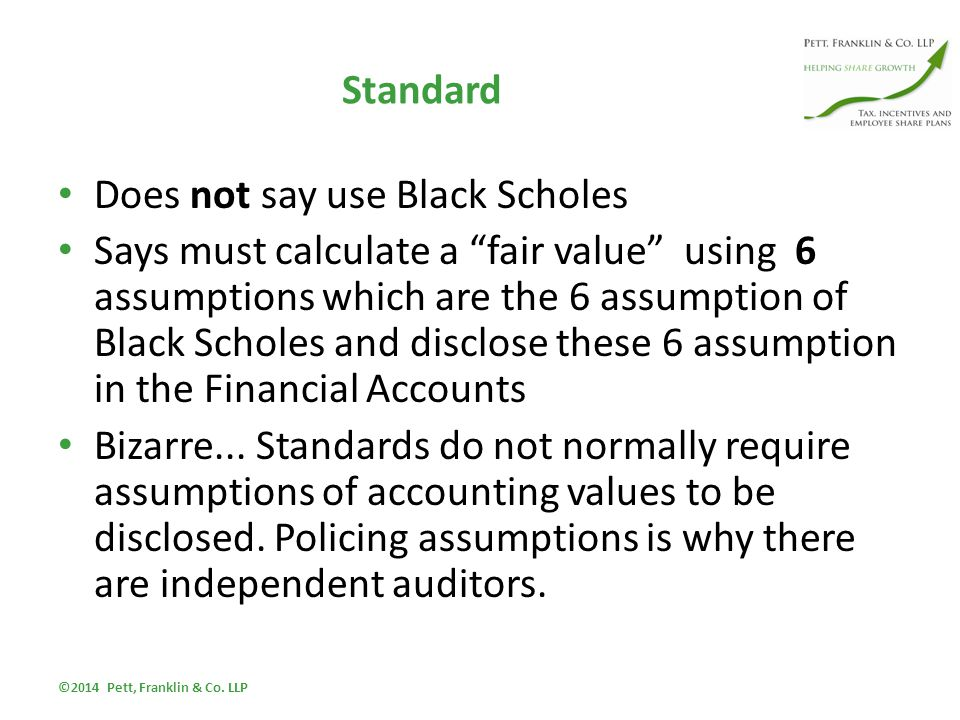 Standard Does not say use Black Scholes Says must calculate a fair value using 6 assumptions which are the 6 assumption of Black Scholes and disclose these 6 assumption in the Financial Accounts Bizarre...