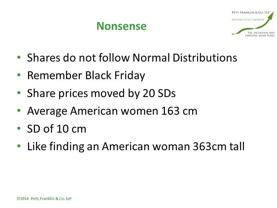 Nonsense Shares do not follow Normal Distributions Remember Black Friday Share prices moved by 20 SDs Average American women 163 cm SD of 10 cm Like finding an American woman 363cm tall ©2014 Pett, Franklin & Co.