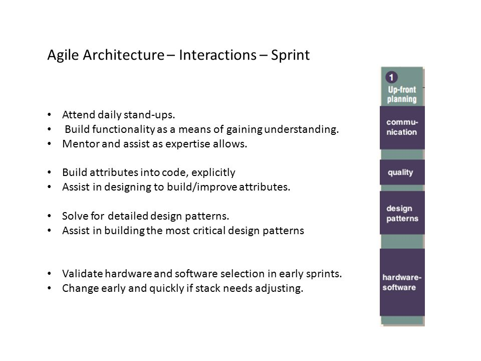 Agile Architecture – Interactions – Sprint Attend daily stand-ups. Build functionality as a means of gaining understanding. Mentor and assist as exper