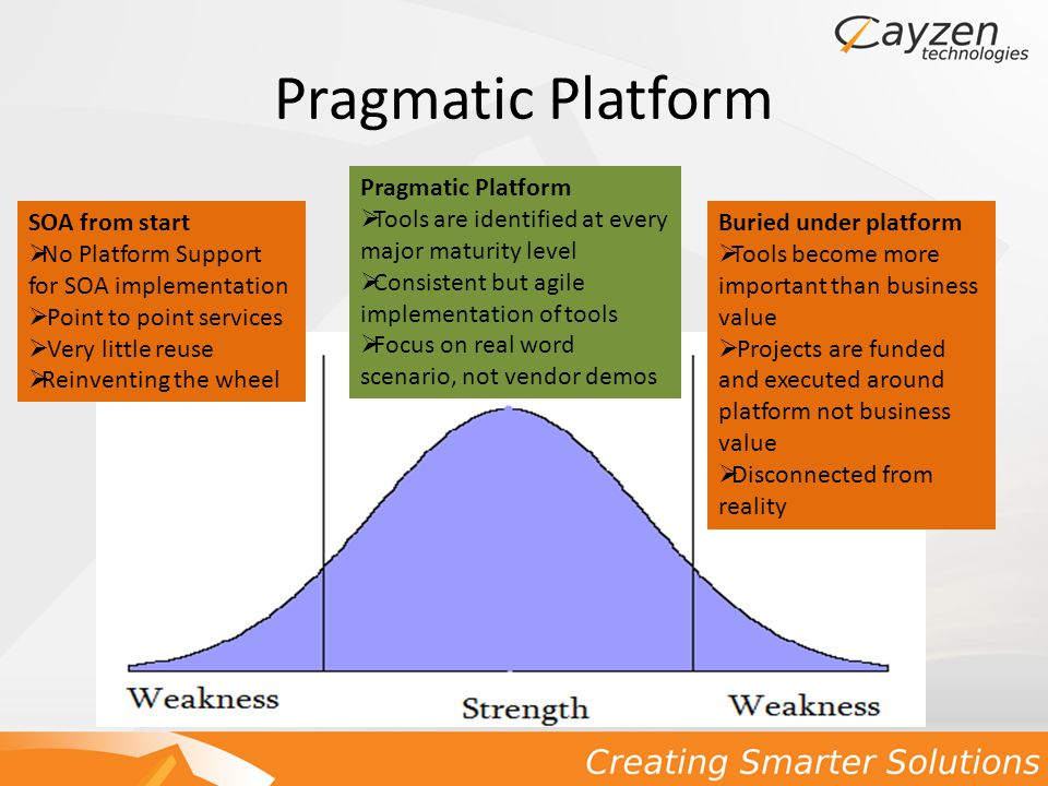 Pragmatic Platform SOA from start  No Platform Support for SOA implementation  Point to point services  Very little reuse  Reinventing the wheel Pragmatic Platform  Tools are identified at every major maturity level  Consistent but agile implementation of tools  Focus on real word scenario, not vendor demos Buried under platform  Tools become more important than business value  Projects are funded and executed around platform not business value  Disconnected from reality