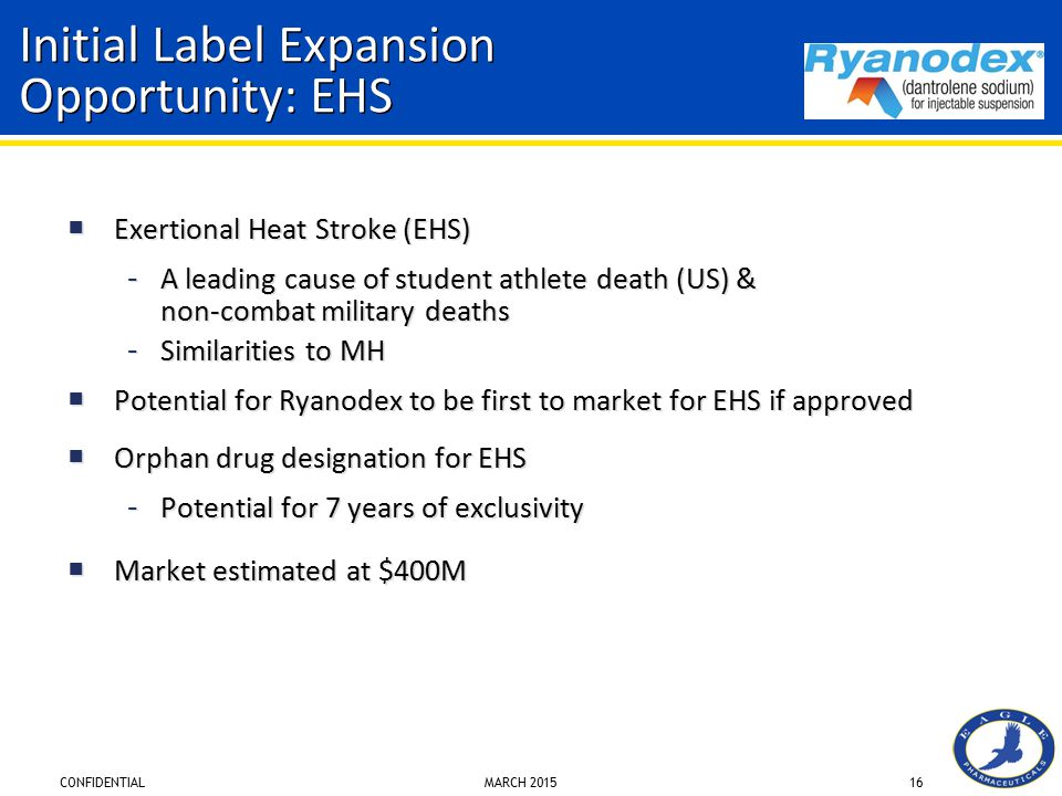 CONFIDENTIAL MARCH 201516 Initial Label Expansion Opportunity: EHS  Exertional Heat Stroke (EHS) – A leading cause of student athlete death (US) & non-combat military deaths – Similarities to MH  Potential for Ryanodex to be first to market for EHS if approved  Orphan drug designation for EHS – Potential for 7 years of exclusivity  Market estimated at $400M  Exertional Heat Stroke (EHS) – A leading cause of student athlete death (US) & non-combat military deaths – Similarities to MH  Potential for Ryanodex to be first to market for EHS if approved  Orphan drug designation for EHS – Potential for 7 years of exclusivity  Market estimated at $400M