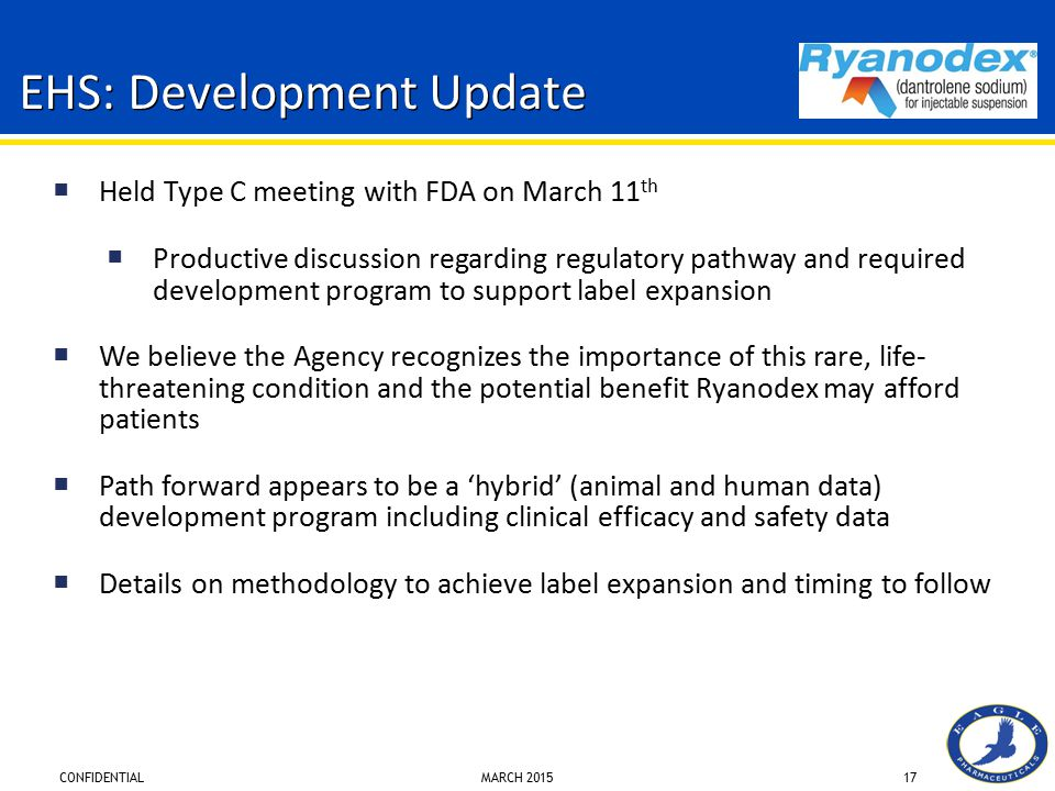 CONFIDENTIAL MARCH 201517 EHS: Development Update  Held Type C meeting with FDA on March 11 th  Productive discussion regarding regulatory pathway a