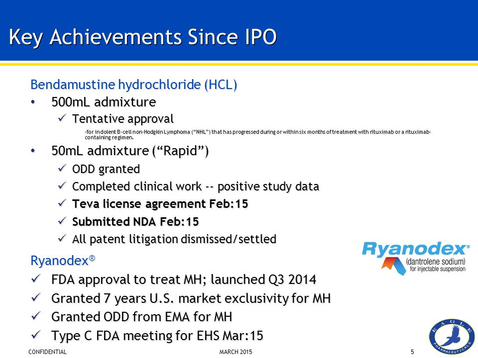 CONFIDENTIAL MARCH 20155 Key Achievements Since IPO Bendamustine hydrochloride (HCL) 500mL admixture Tentative approval -for indolent B-cell non-Hodgk