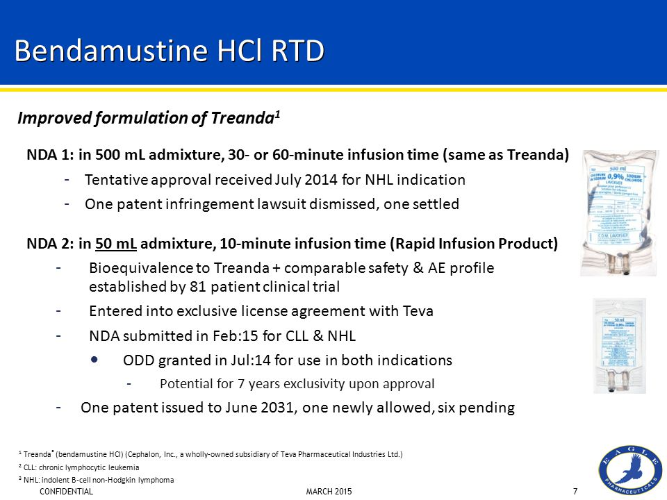 CONFIDENTIAL MARCH 20157 Bendamustine HCl RTD NDA 1: in 500 mL admixture, 30- or 60-minute infusion time (same as Treanda) – Tentative approval receiv