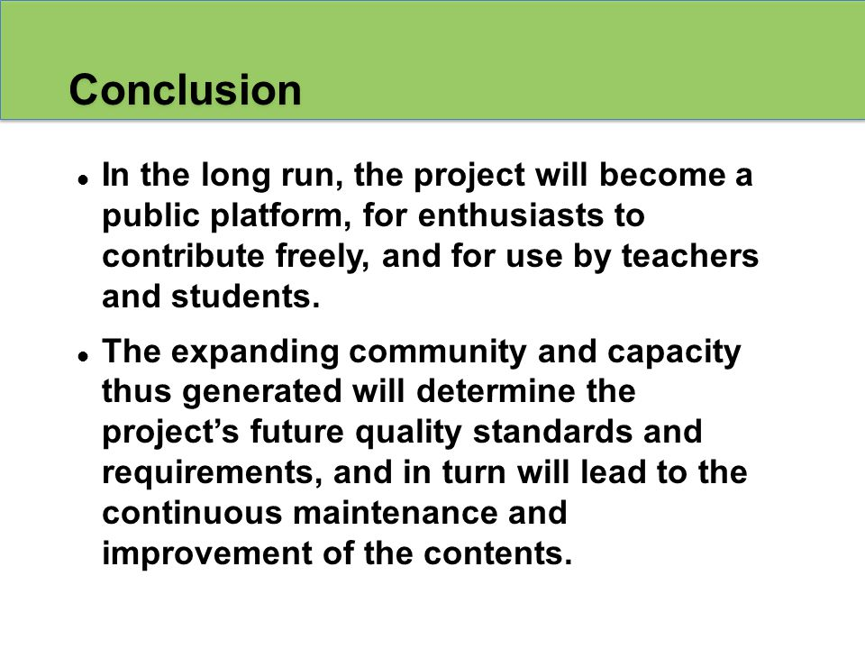 In the long run, the project will become a public platform, for enthusiasts to contribute freely, and for use by teachers and students.