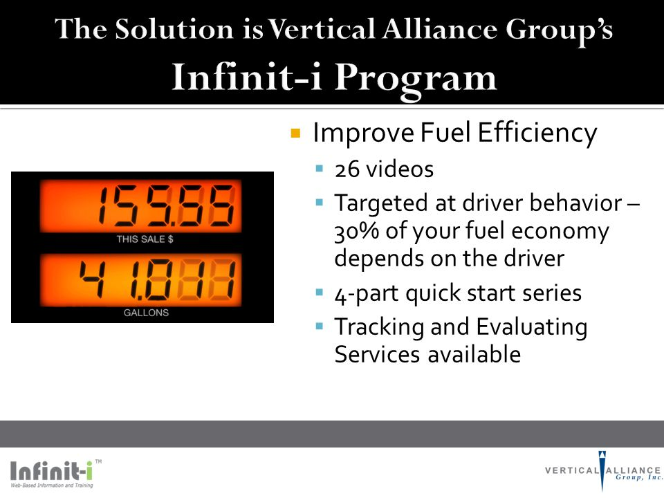  Improve Fuel Efficiency  26 videos  Targeted at driver behavior – 30% of your fuel economy depends on the driver  4-part quick start series  Tra