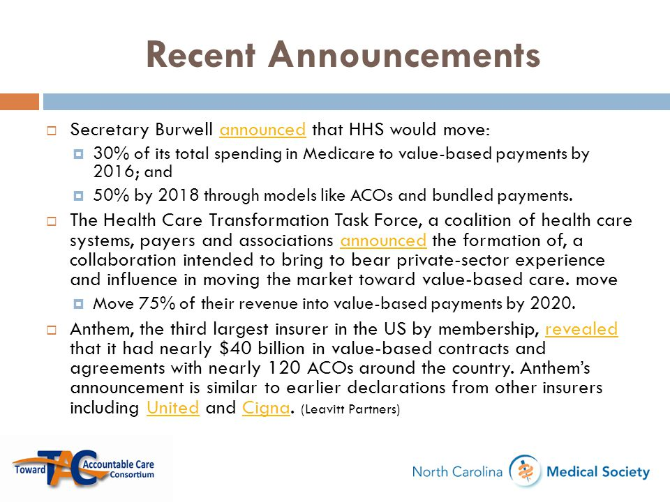 Recent Announcements  Secretary Burwell announced that HHS would move:announced  30% of its total spending in Medicare to value-based payments by 20