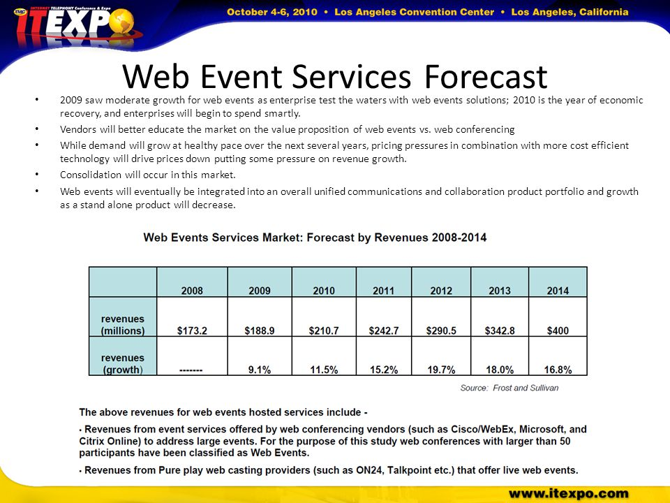 Web Event Services Forecast 2009 saw moderate growth for web events as enterprise test the waters with web events solutions; 2010 is the year of economic recovery, and enterprises will begin to spend smartly.
