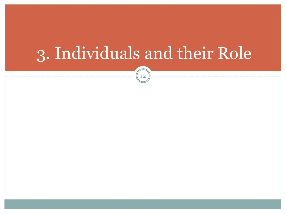 3. Individuals and their Role 12
