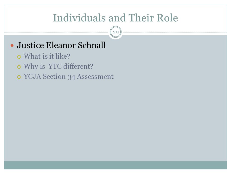 Individuals and Their Role Justice Eleanor Schnall  What is it like.