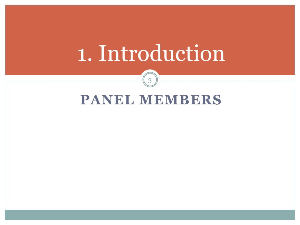 PANEL MEMBERS 1. Introduction 3