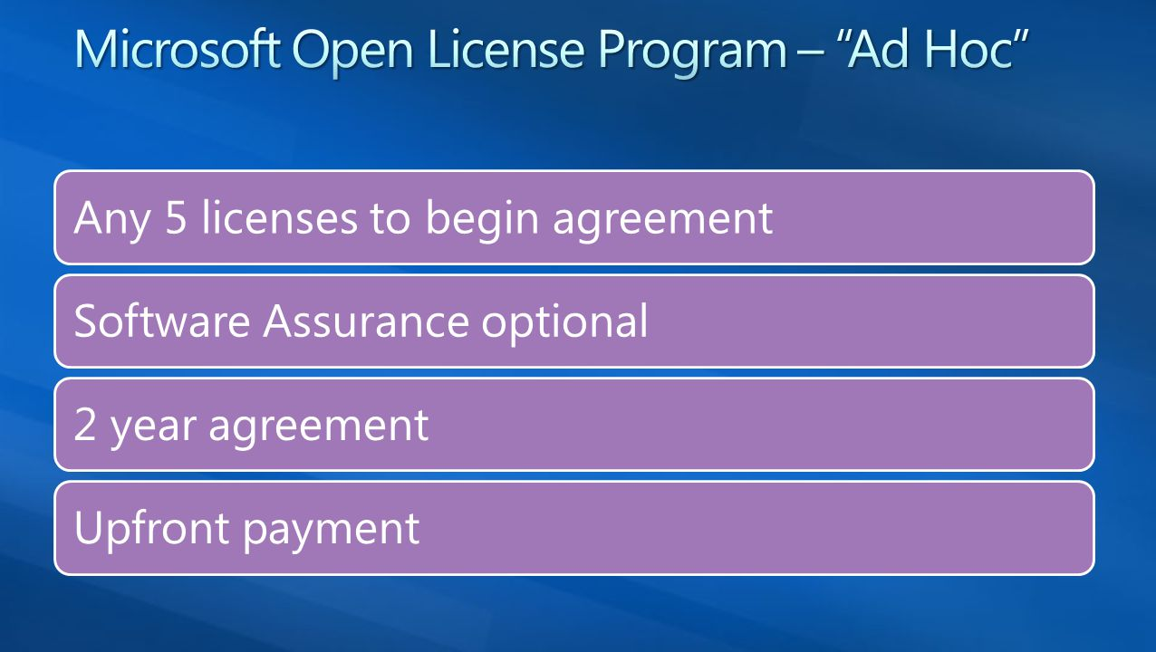 Any 5 licenses to begin agreement Software Assurance optional 2 year agreement Upfront payment
