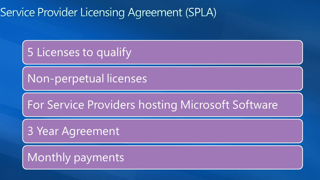 5 Licenses to qualify Non-perpetual licenses For Service Providers hosting Microsoft Software 3 Year Agreement Monthly payments