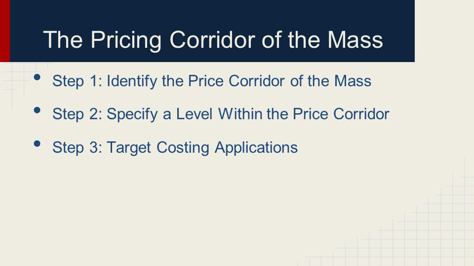 Step 1: Identify the Price Corridor of the Mass Step 2: Specify a Level Within the Price Corridor Step 3: Target Costing Applications