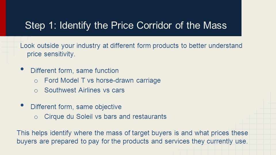 Step 1: Identify the Price Corridor of the Mass Look outside your industry at different form products to better understand price sensitivity.