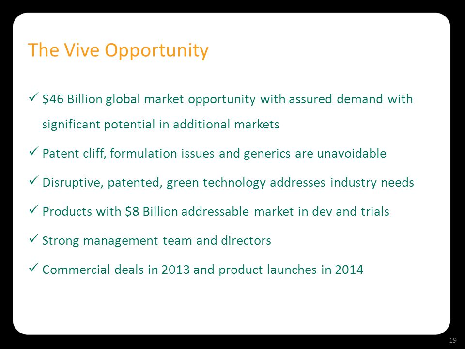 The Vive Opportunity $46 Billion global market opportunity with assured demand with significant potential in additional markets Patent cliff, formulat