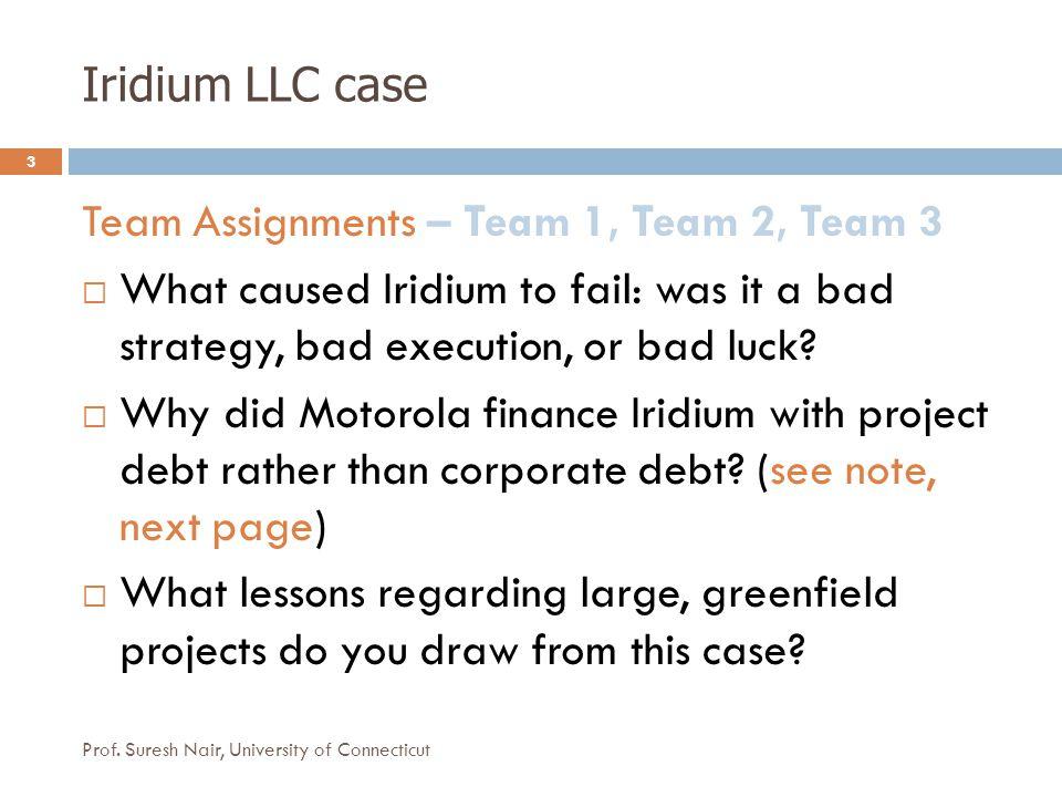 Iridium LLC case 3 Team Assignments – Team 1, Team 2, Team 3  What caused Iridium to fail: was it a bad strategy, bad execution, or bad luck.